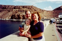 Cora, Mommy, and Daddy at the Hoover Dam