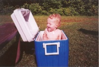 Cora Bathing in Cooler